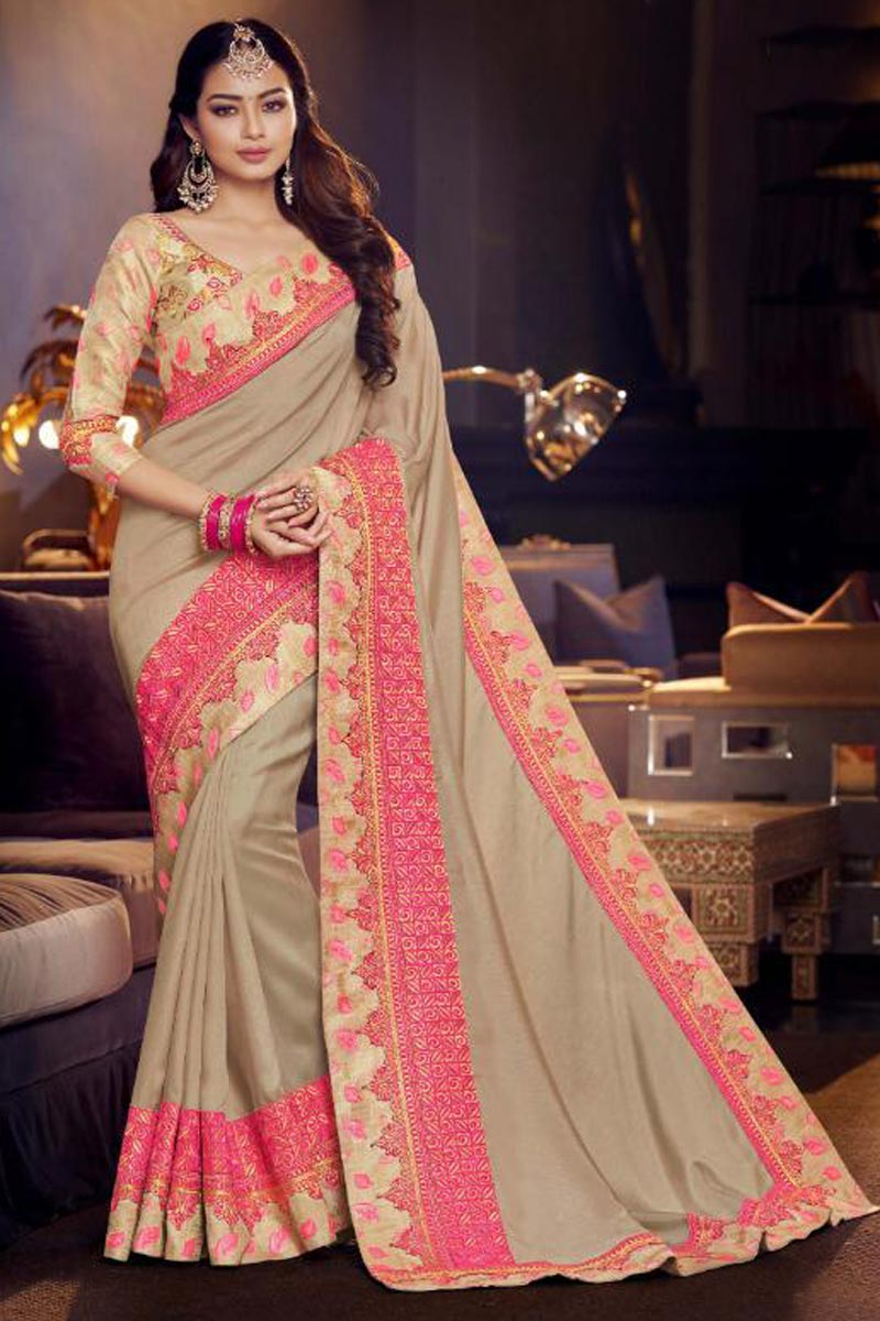 Cream Function Wear Embroidered Designer Saree In Fancy Fabric