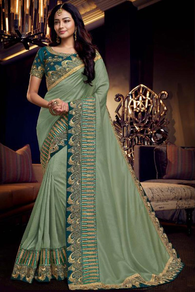 Fancy Fabric Sangeet Wear Designer Sea Green Saree With Embroidery