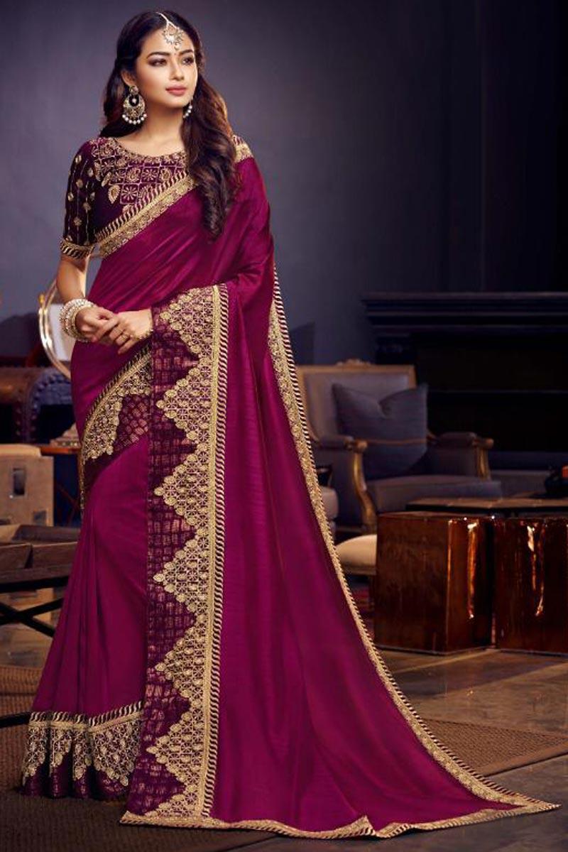 Burgundy Color Sangeet Function Wear Designer Fancy Fabric Embroidered Saree