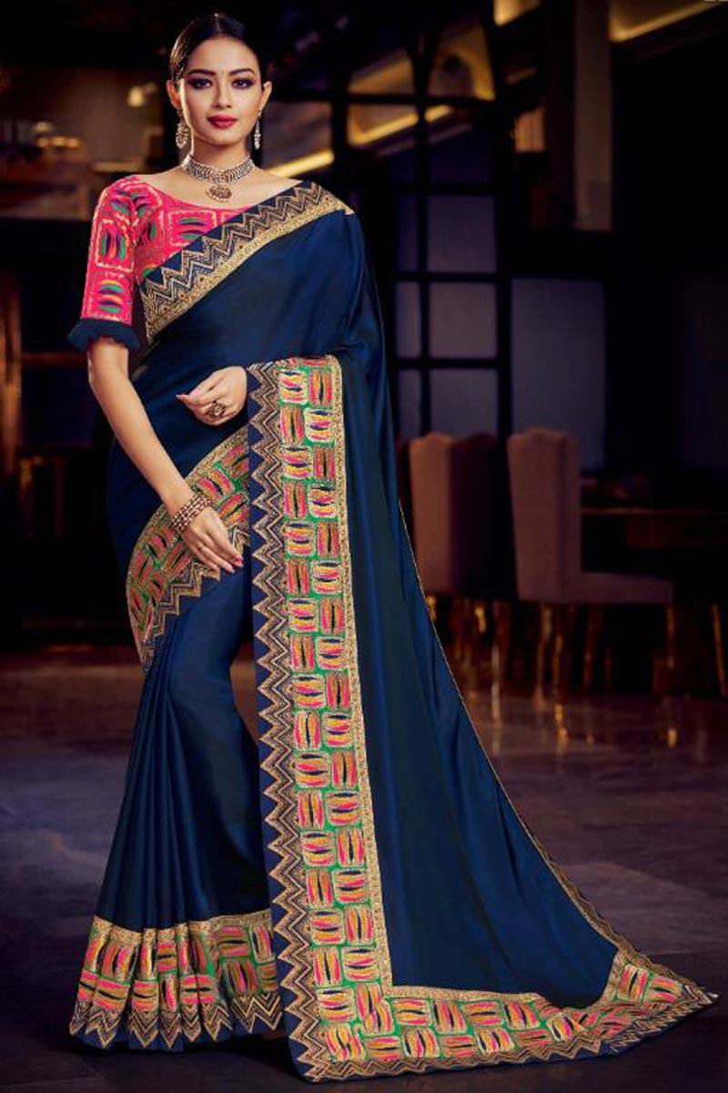 Navy Blue Fancy Fabric Sangeet Wear Designer Saree With Embroidery Work