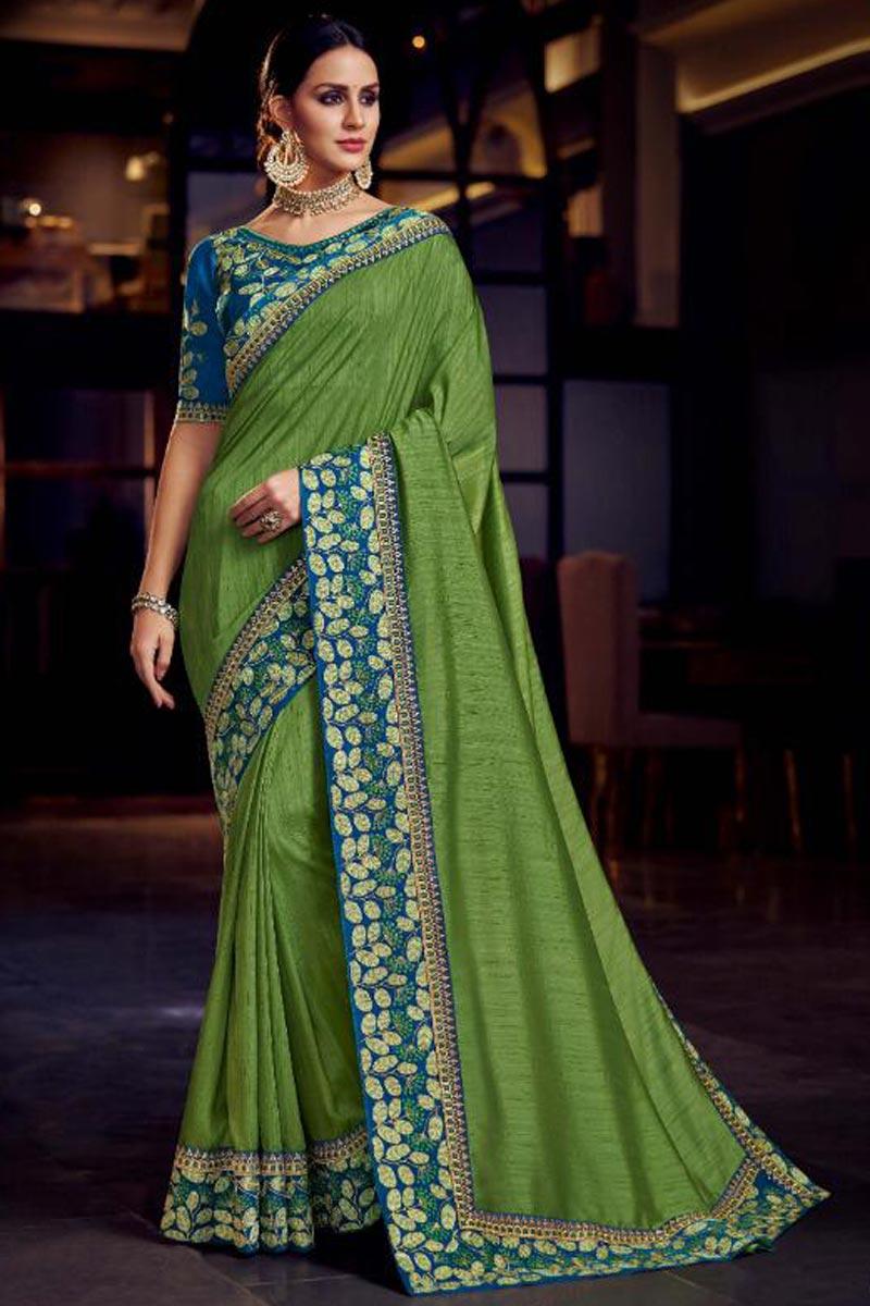 Sangeet Wear Designer Fancy Fabric Embroidered Saree In Green
