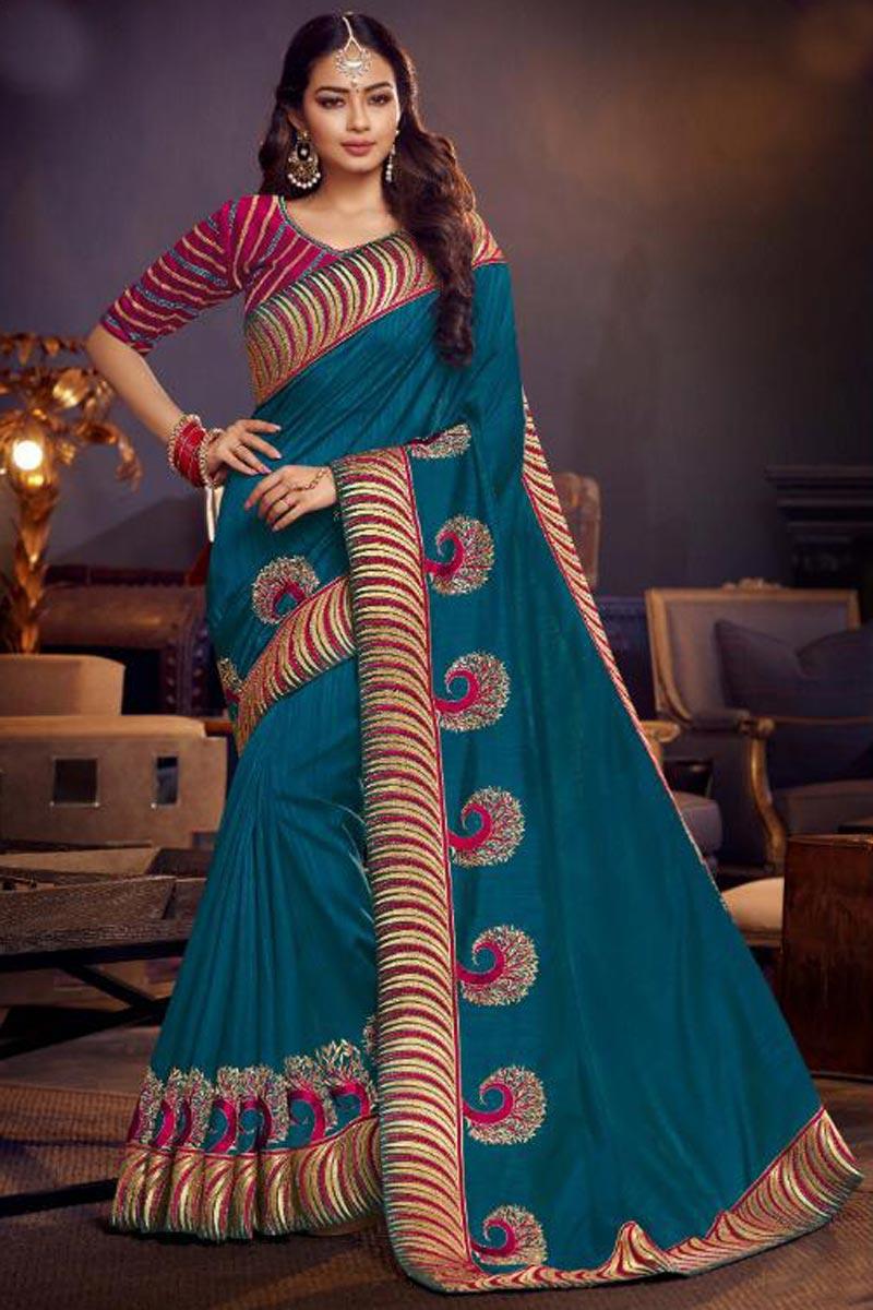 Embroidered Designer Sangeet Wear Fancy Fabric Sky Blue Saree