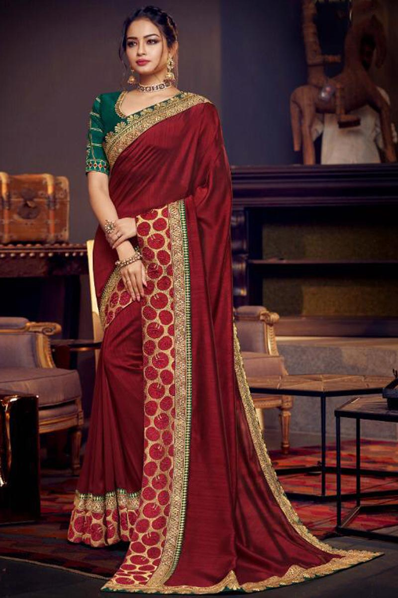 Maroon Sangeet Wear Designer Fancy Fabric Saree With Embroidery