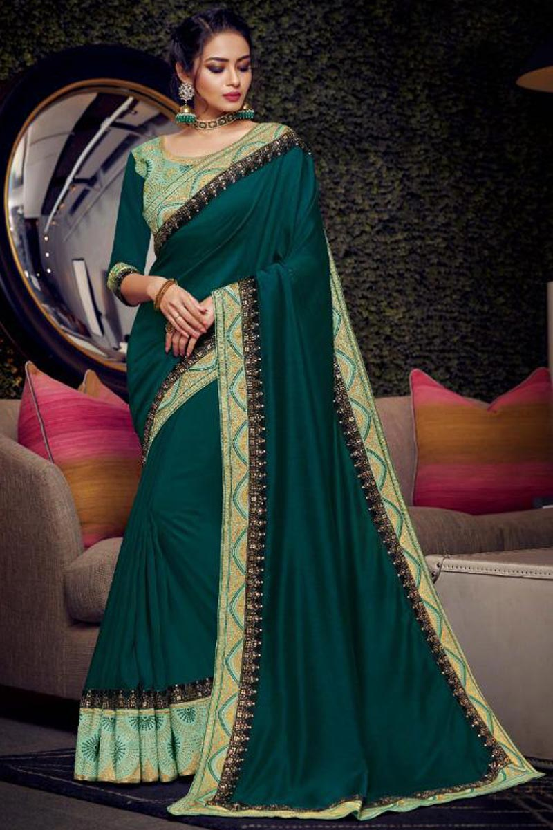 Fancy Fabric Sangeet Function Wear Designer Teal Embroidered Saree