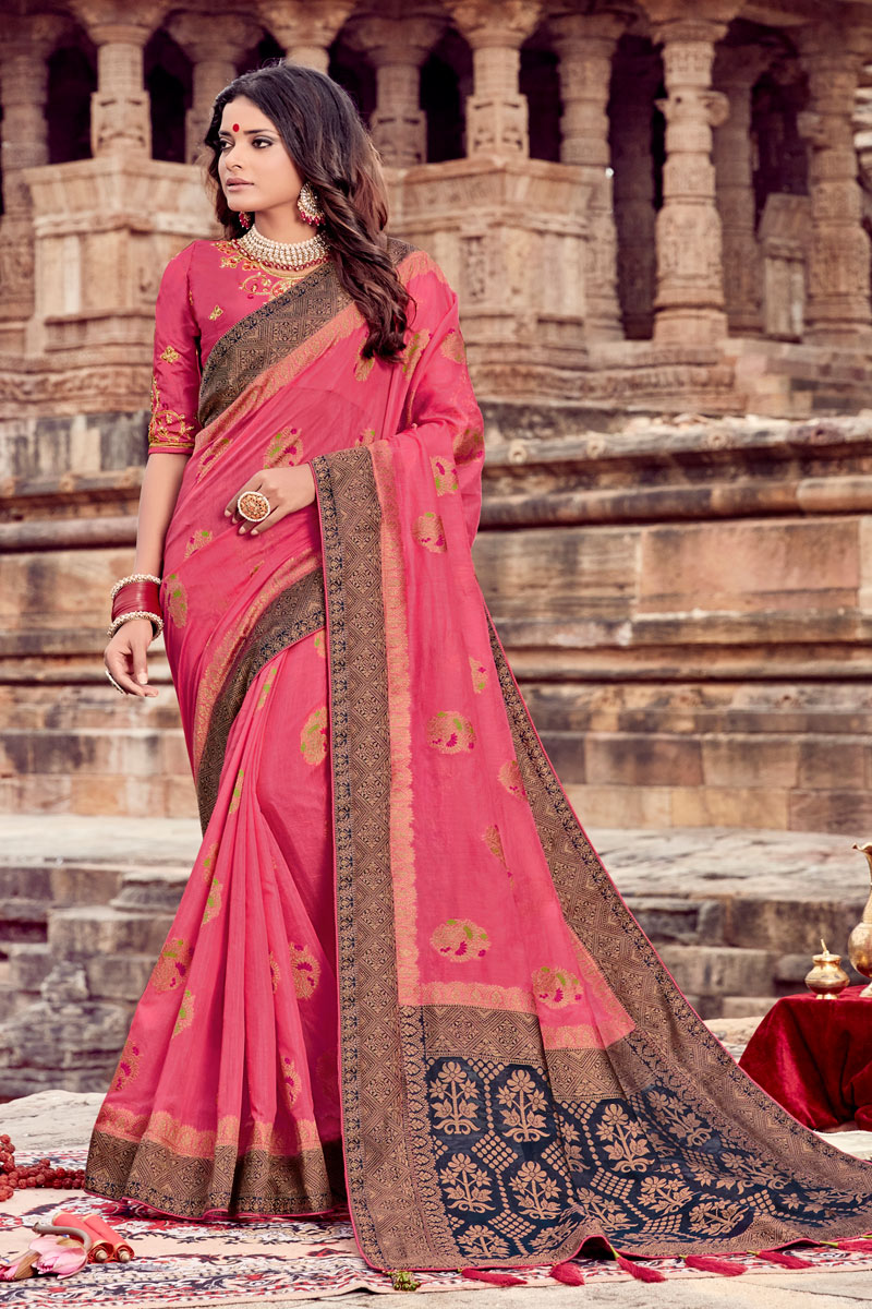 Embroidery Work On Viscose Fabric Pink Color Party Wear Saree With Designer Blouse