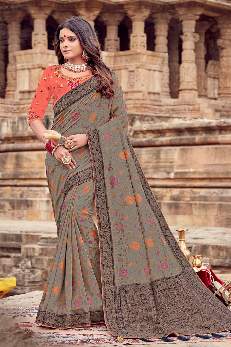 Dark Beige Color Viscose Fabric Function Wear Saree With Embroidery Designs And Gorgeous Blouse