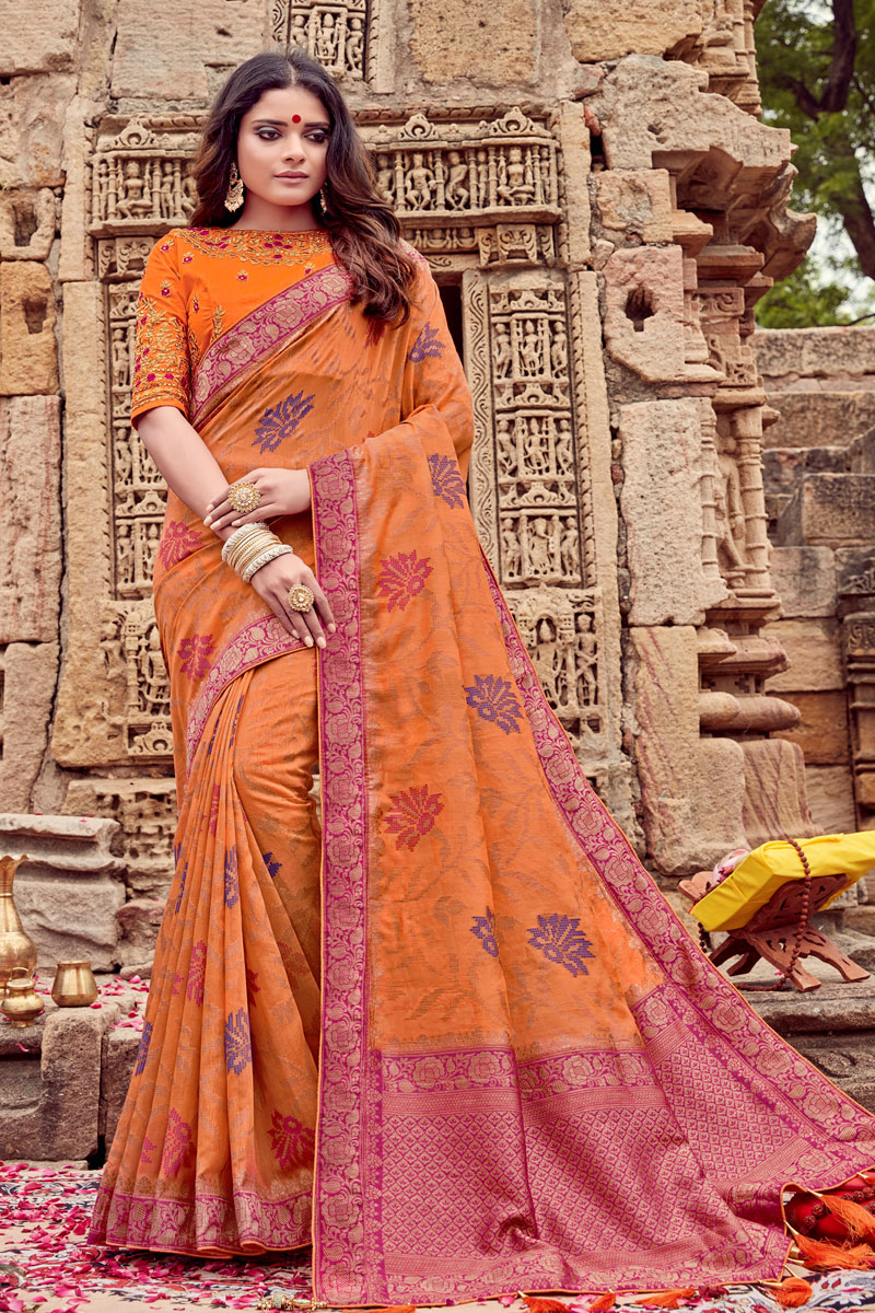 Viscose Fabric Orange Color Occasion Wear Saree With Embroidery Work And Attractive Blouse
