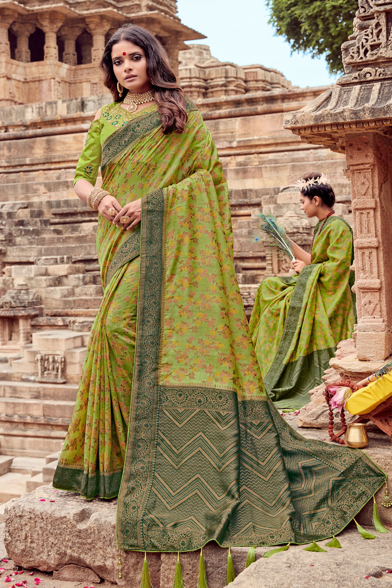 Green Color Viscose Fabric Fancy Embroidery Designs Party Wear Saree
