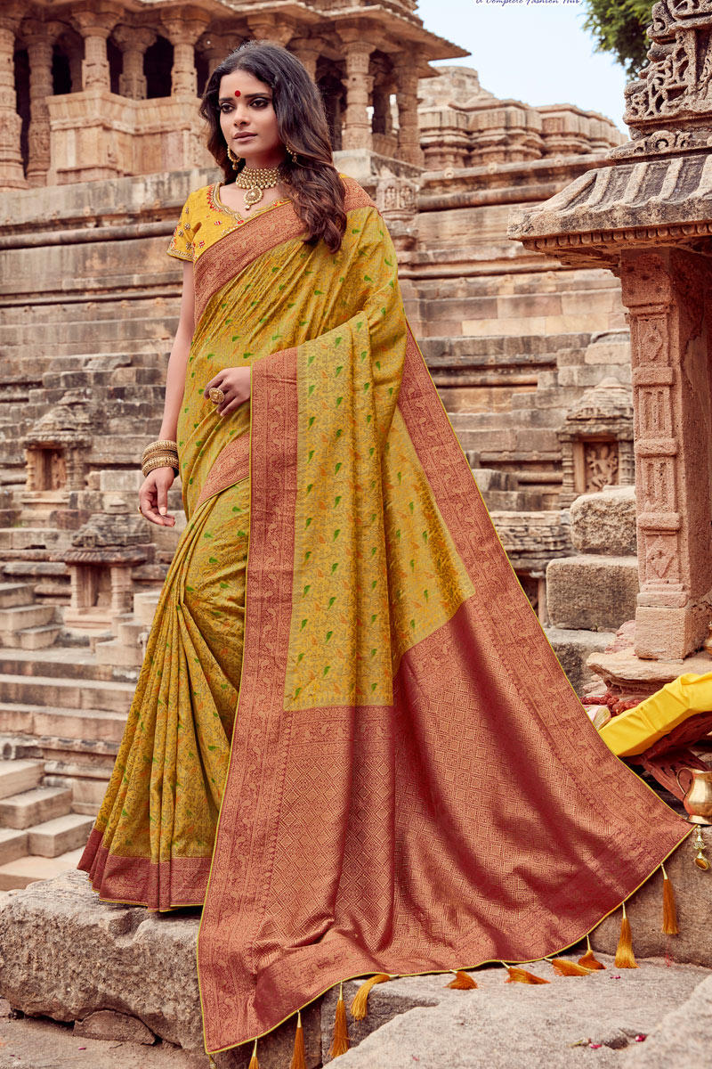 Fancy Embroidery Work Mustard Color Wedding Wear Saree In Viscose Fabric