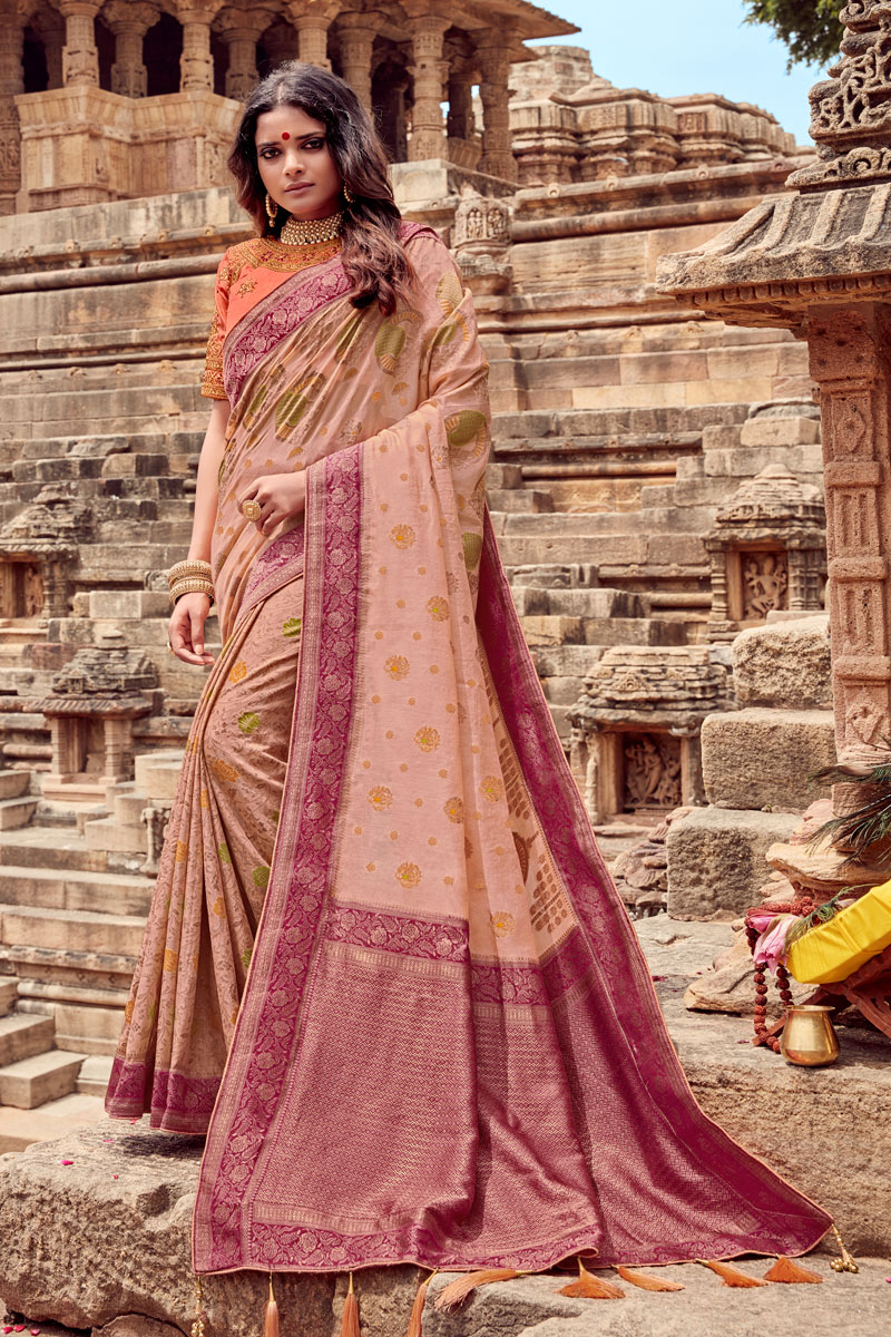 Viscose Fabric Designer Embroidered Saree In Chikoo Color With Attractive Blouse