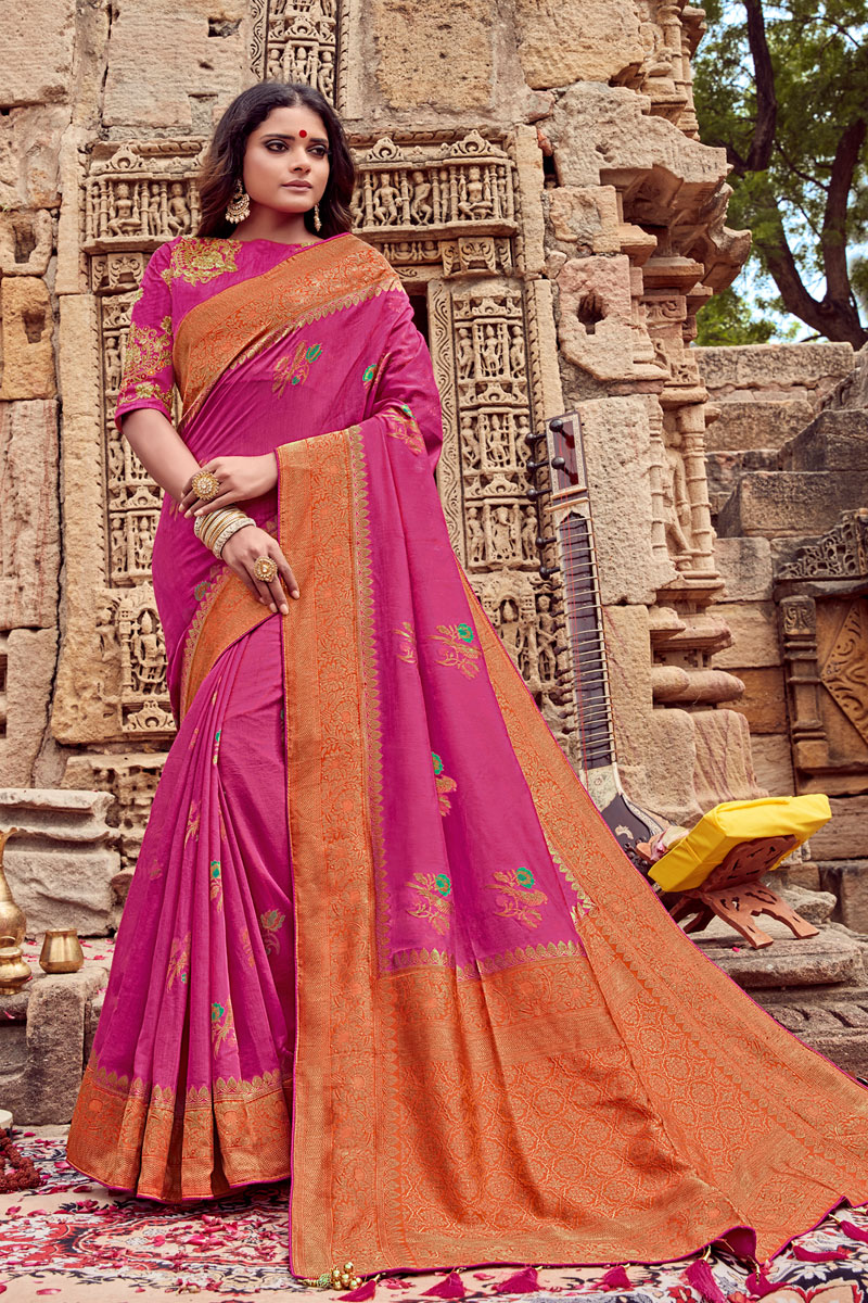Viscose Fabric Rani Color Festive Saree With Embroidery Work And Gorgeous Blouse