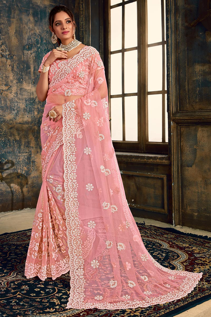 Net Fabric Pink Color Function Wear Designer Embroidered Saree
