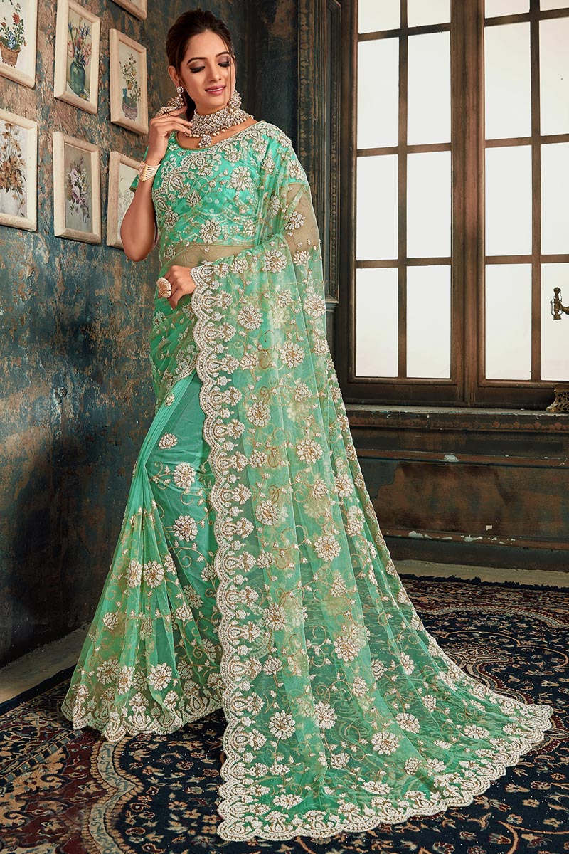 Function Wear Net Fabric Designer Embroidered Saree In Sea Green Color