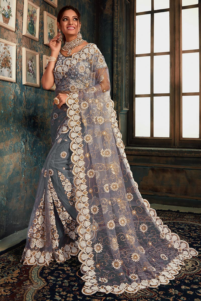 Function Wear Net Fabric Designer Embroidered Saree In Grey Color