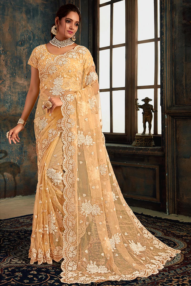 Function Wear Net Fabric Designer Peach Color Embroidered Saree