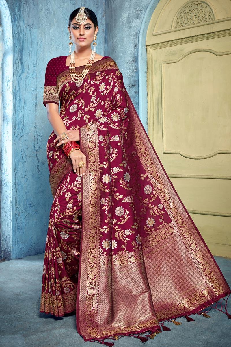 Art Silk Fabric Puja Wear Trendy Weaving Work Saree In Maroon Color