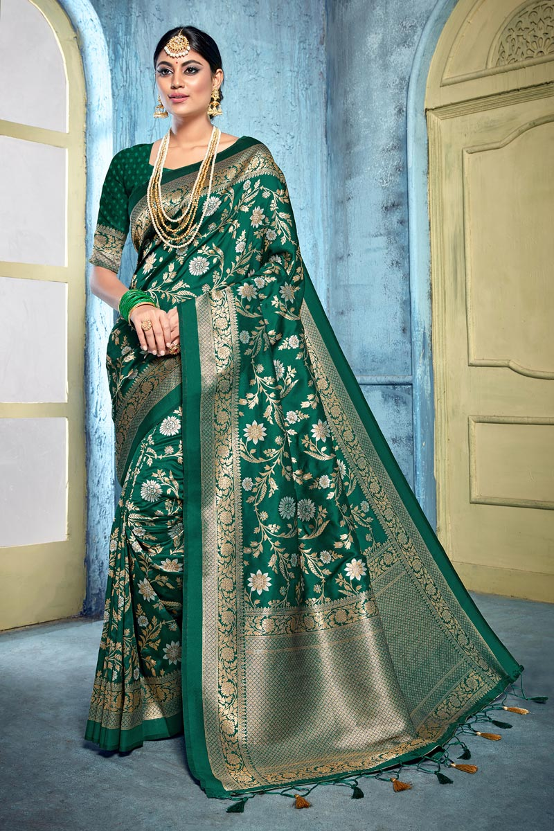 Dark Green Color Trendy Puja Wear Art Silk Fabric Weaving Work Saree