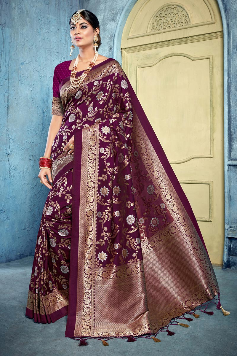 Art Silk Fabric Puja Wear Purple Color Trendy Weaving Work Saree