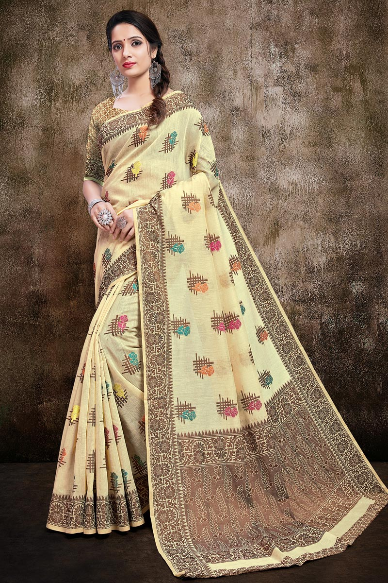 Cotton Silk Fabric Casual Wear Stylish Weaving Work Saree In Beige Color