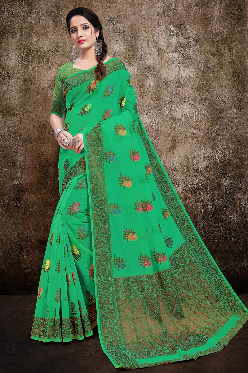 Green Color Casual Wear Stylish Cotton Silk Fabric Weaving Work Saree