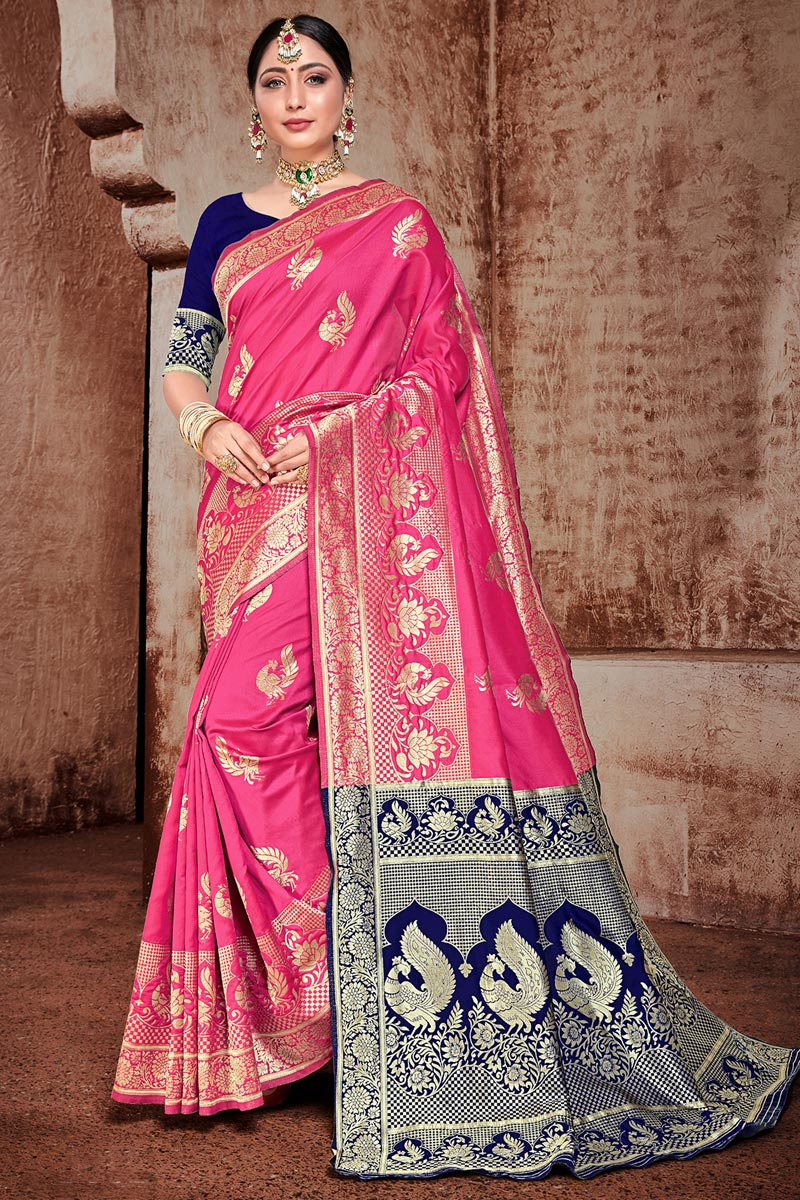 Art Silk Fabric Puja Wear Trendy Weaving Work Saree In Rani Color