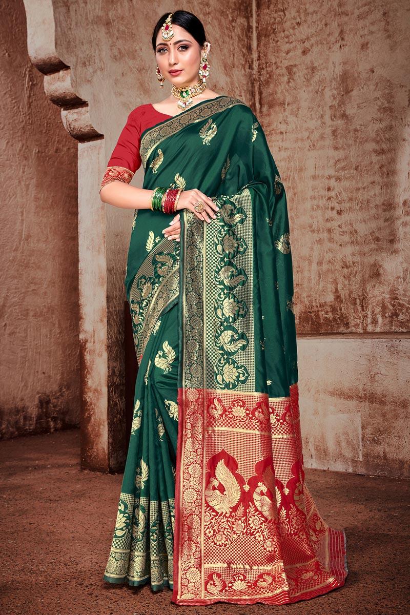 Puja Wear Dark Green Color Trendy Weaving Work Saree In Art Silk Fabric