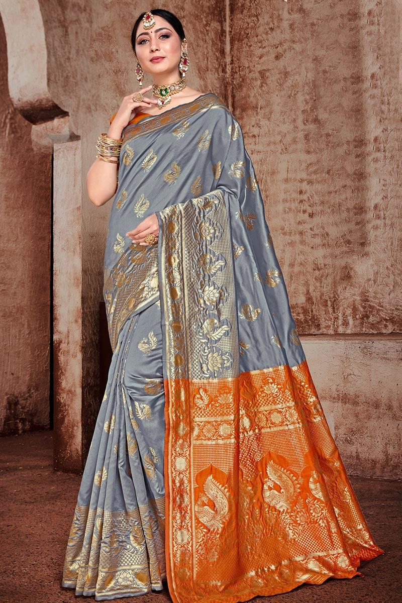 Grey Color Puja Wear Trendy Art Silk Fabric Weaving Work Saree