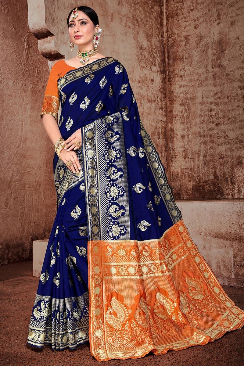 Puja Wear Art Silk Fabric Trendy Navy Blue Color Weaving Work Saree