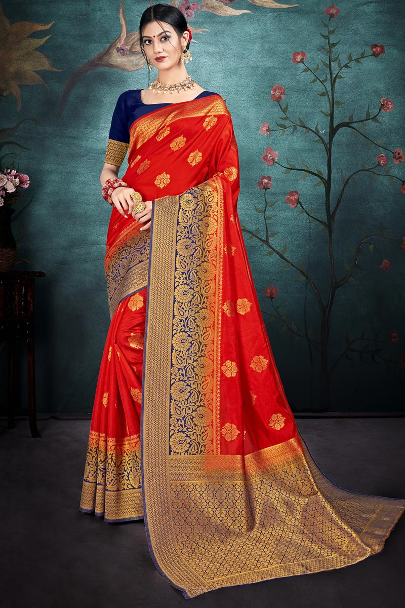 Puja Wear Red Color Chic Weaving Work Saree In Art Silk Fabric