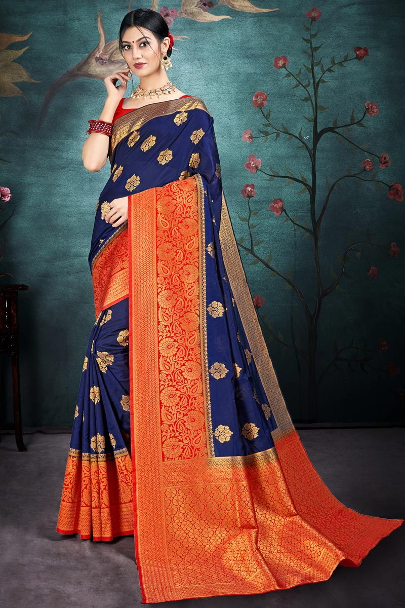 Art Silk Fabric Puja Wear Navy Blue Color Chic Weaving Work Saree