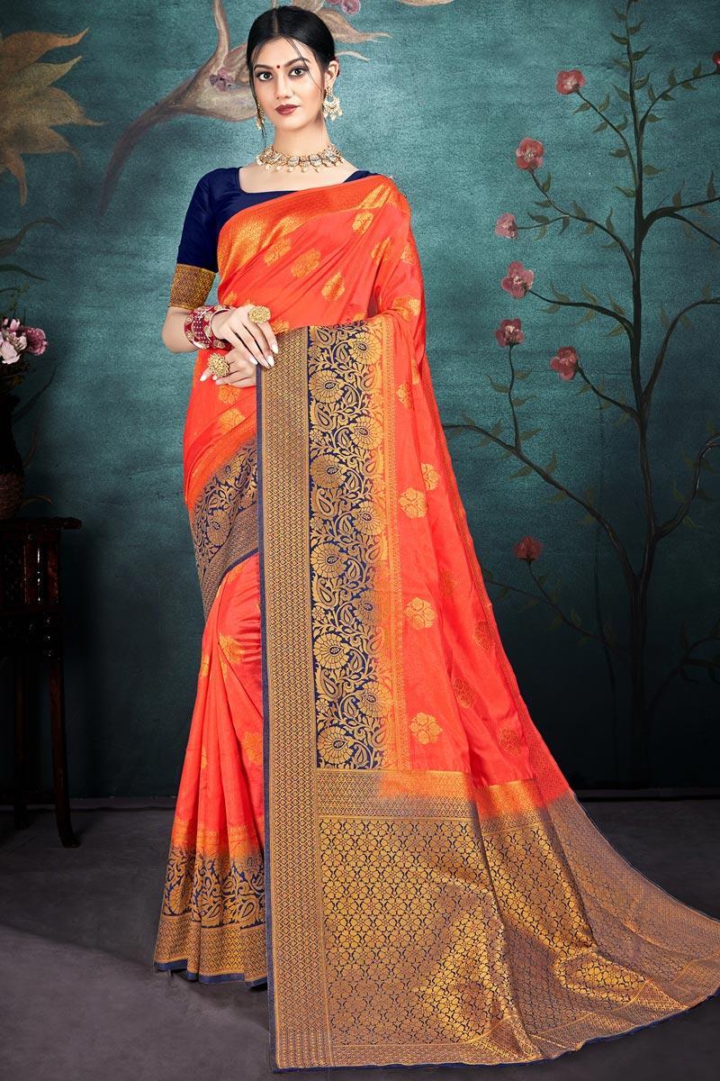 Orange Color Puja Wear Chic Art Silk Fabric Weaving Work Saree