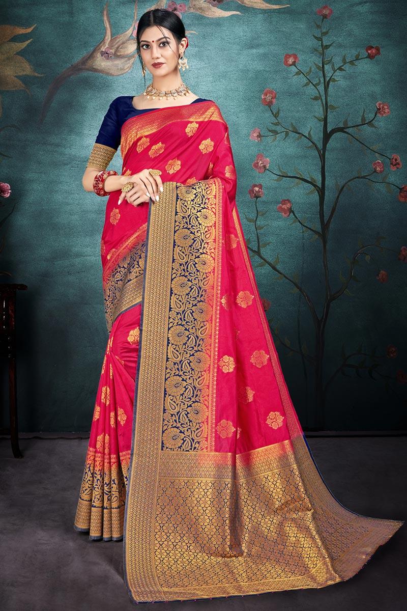 Puja Wear Art Silk Fabric Chic Rani Color Weaving Work Saree