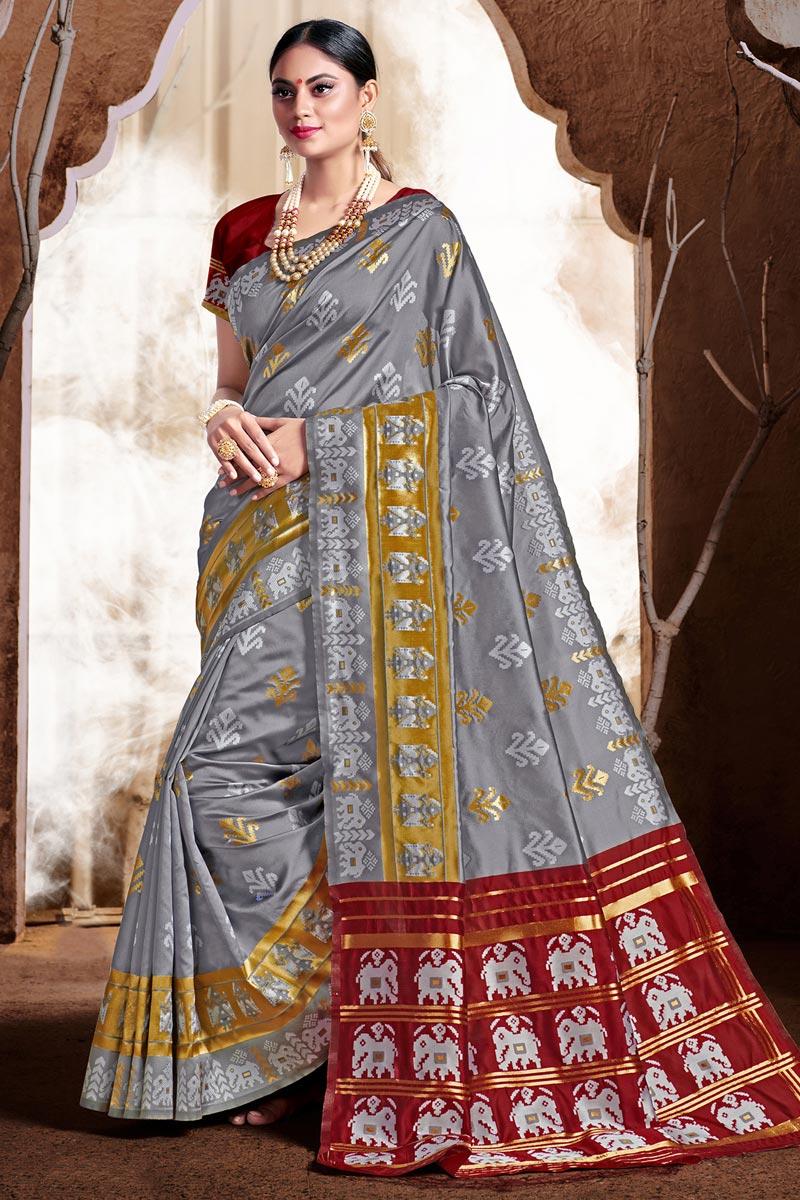 Puja Wear Grey Color Trendy Art Silk Fabric Weaving Work Saree