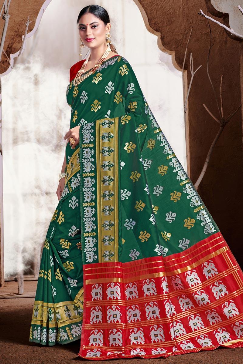 Puja Wear Art Silk Fabric Trendy Weaving Work Saree In Teal Color