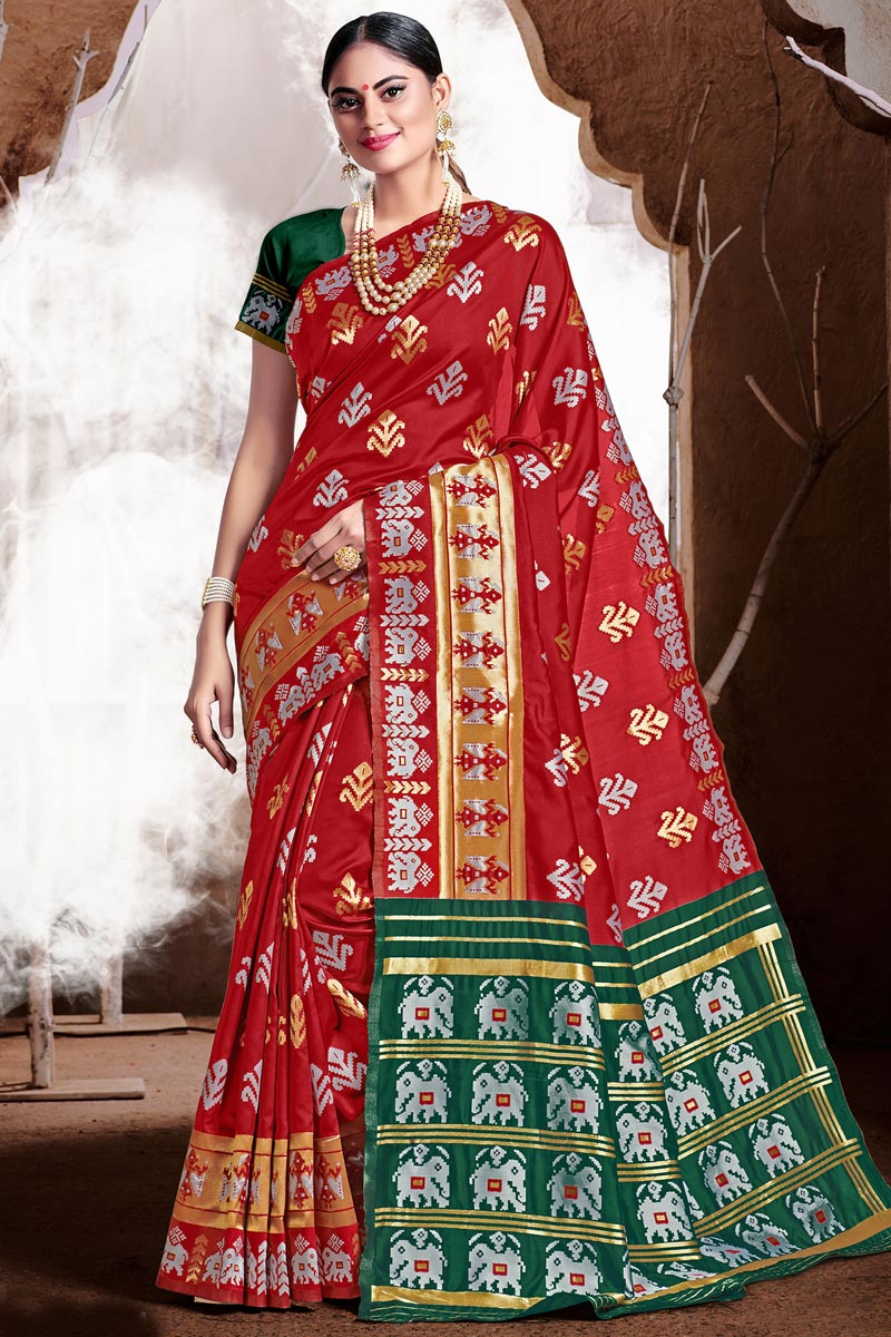 Art Silk Fabric Trendy Puja Wear Red Color Weaving Work Saree