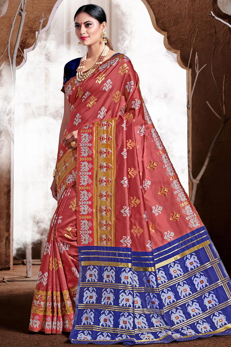 Pink Color Puja Wear Art Silk Fabric Trendy Weaving Work Saree