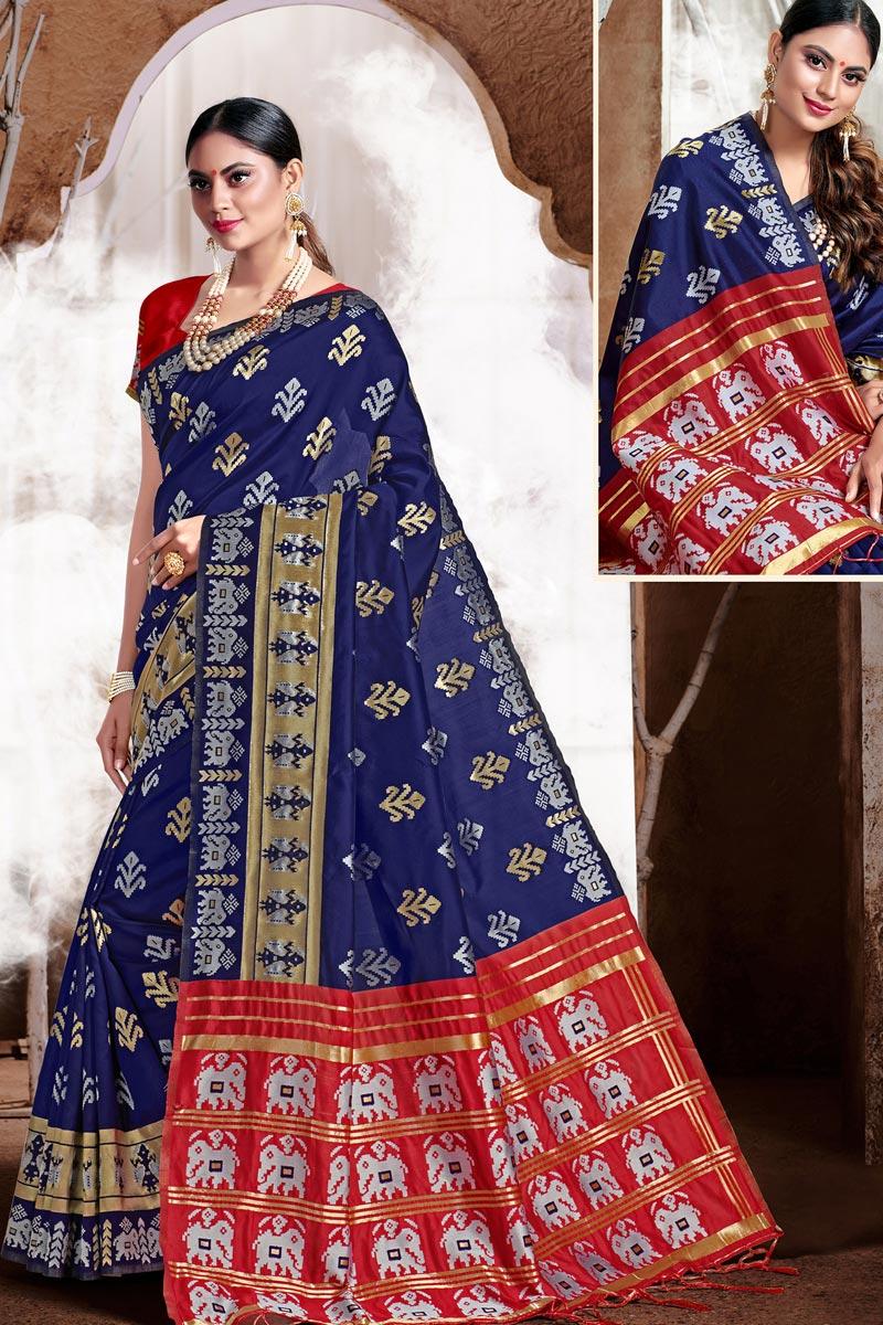 Trendy Puja Wear Navy Blue Color Weaving Work Saree In Art Silk Fabric