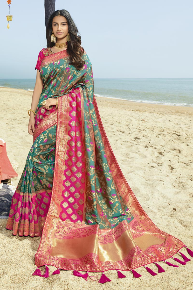 Eid Special Designer Art Silk Traditional Wear Teal Weaving Work Saree With Heavy Blouse