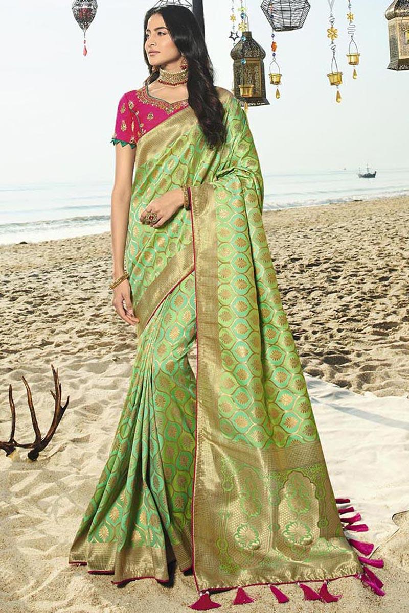 Designer Sea Green Art Silk Traditional Wear Weaving Work Saree With Heavy Blouse