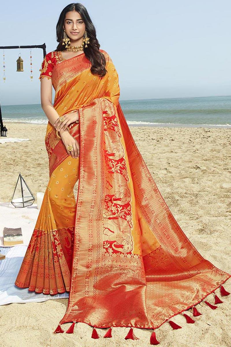 Eid Special Elegant Traditional Wear Art Silk Orange Weaving Work Saree With Fancy Blouse