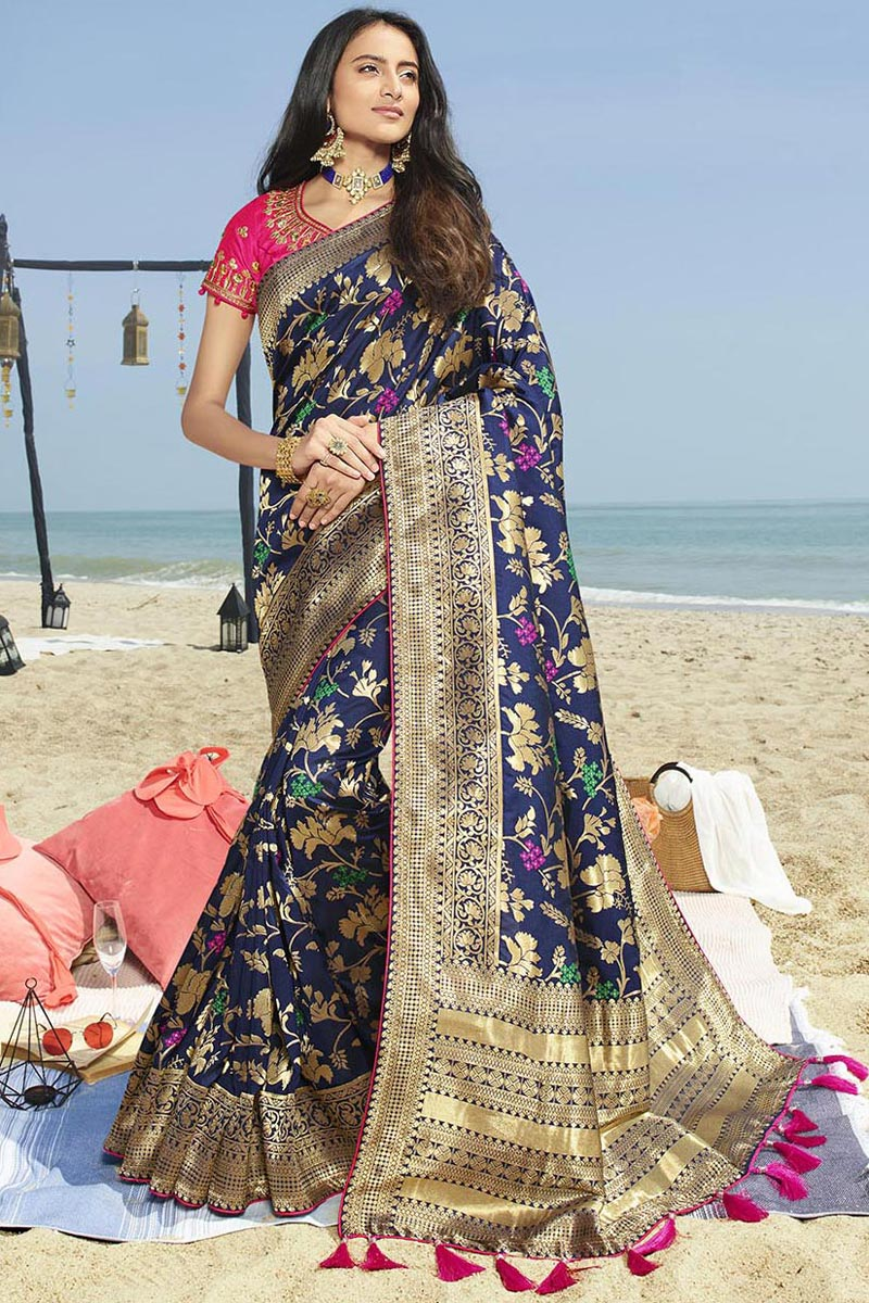 Eid Special Art Silk Elegant Traditional Wear Navy Blue Weaving Work Saree With Heavy Blouse