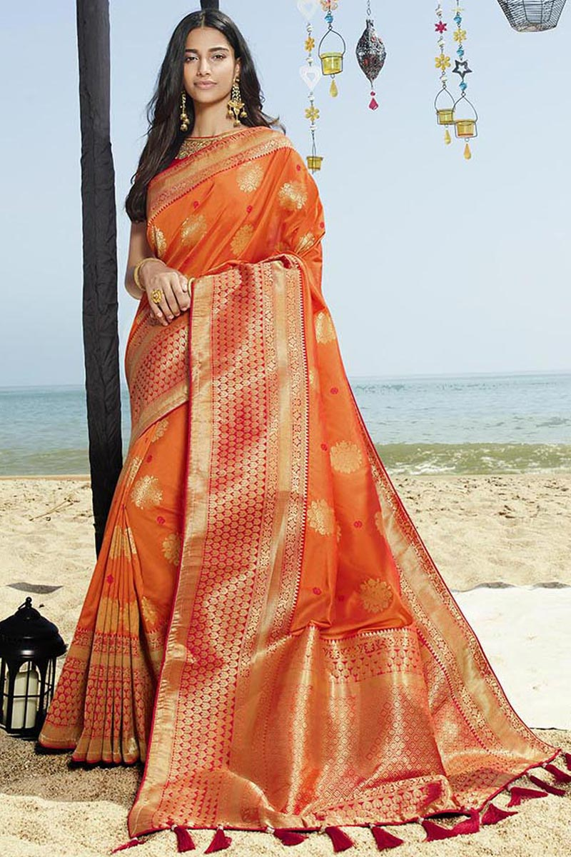 Eid Special Orange Elegant Art Silk Traditional Wear Weaving Work Saree With Fancy Blouse