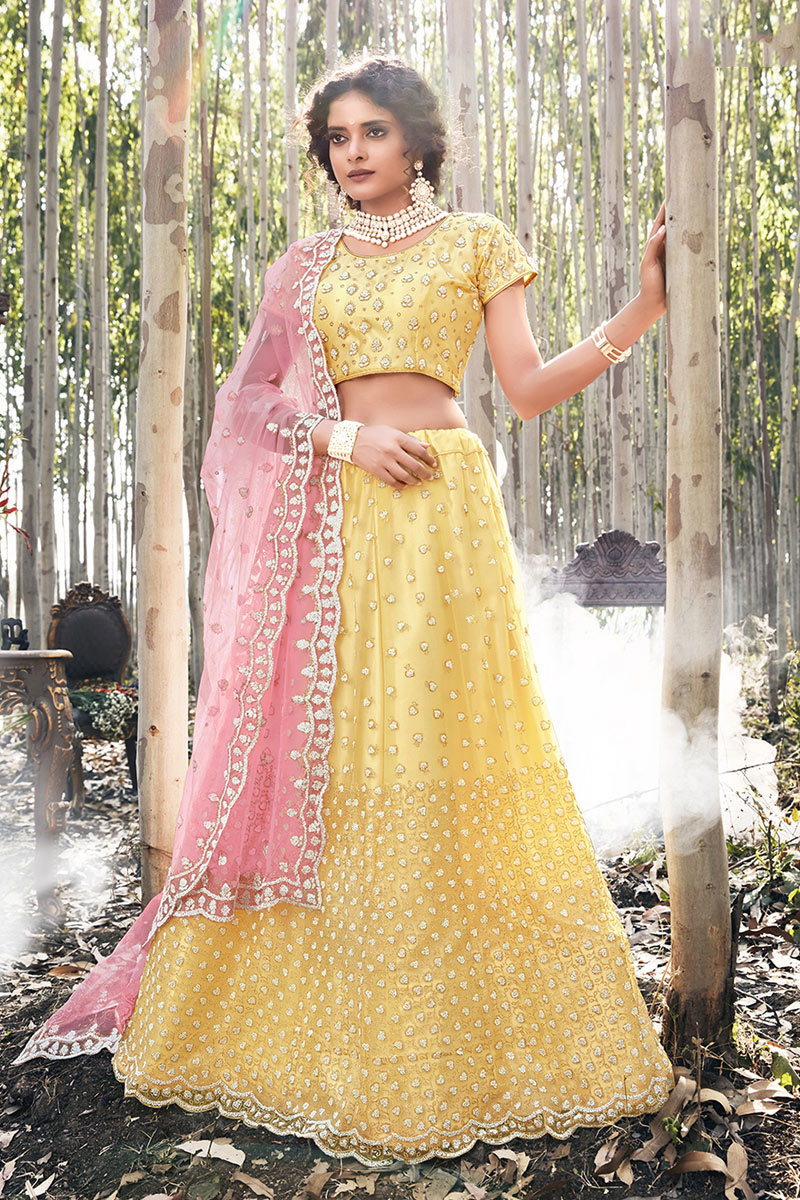 Eid Special Embroidered Occasion Wear Lehenga In Yellow Color Net Fabric