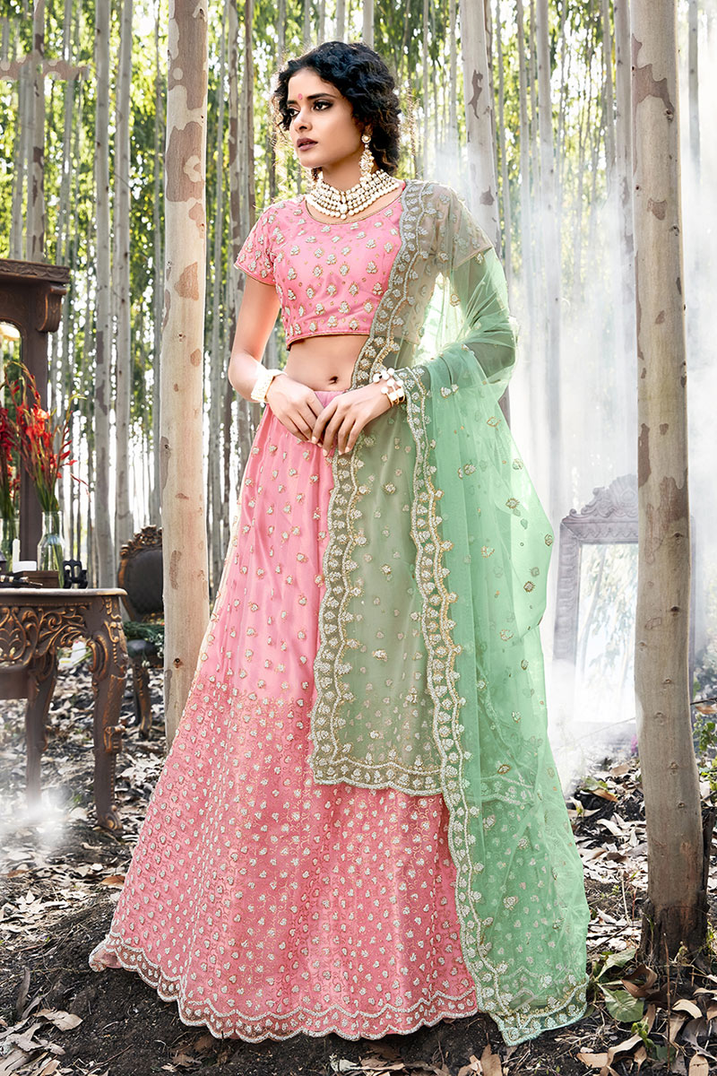 Eid Special Pink Color Designer Embroidered Net Fabric Lehenga Choli