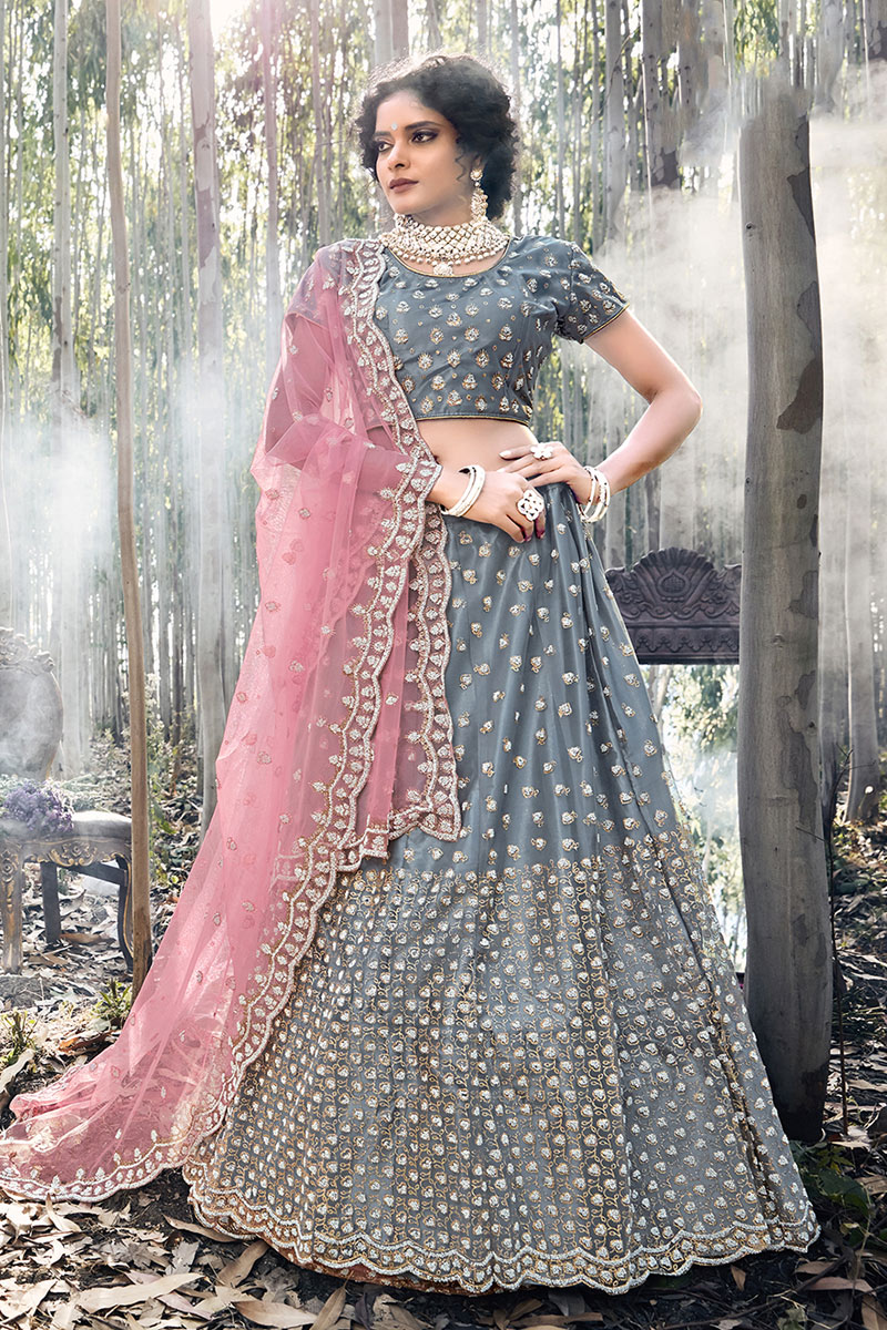 Eid Special Embroidered Net Fabric Party Wear Lehenga In Grey Color With Ravishing Blouse
