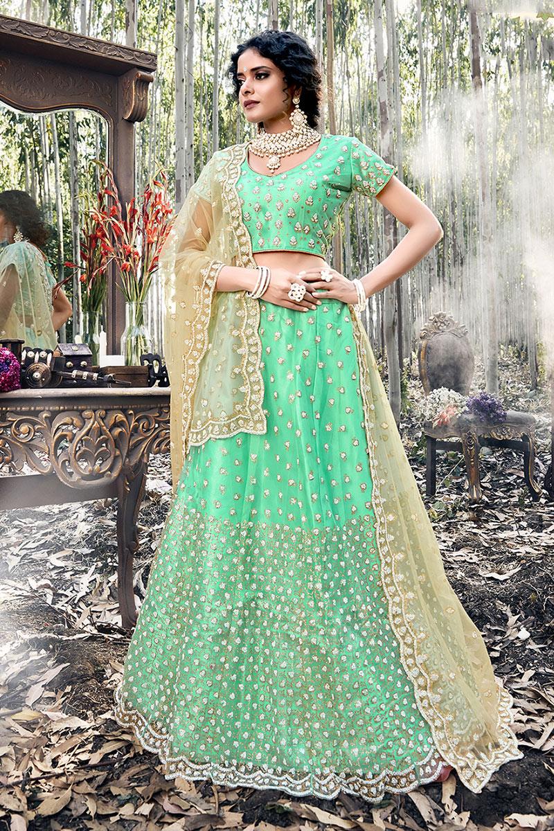 Eid Special Sea Green Color Net Fabric Festive Wear Embroidered Chaniya Choli
