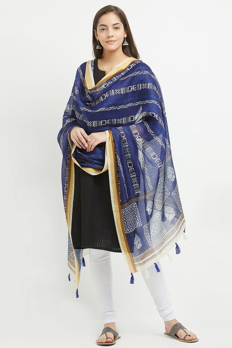 Office Wear Blue Dupatta In Chanderi Silk