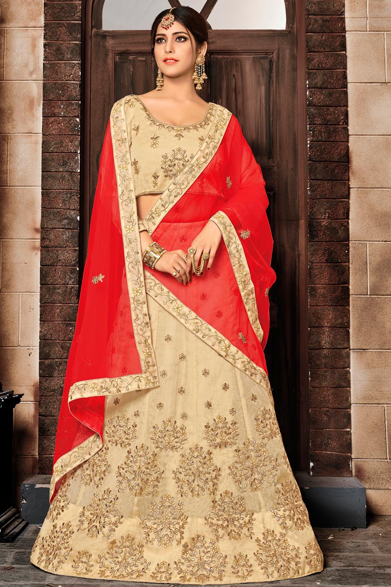 Fancy Fabric Wedding Wear 3 Piece Lehenga In Cream With Embroidery Work