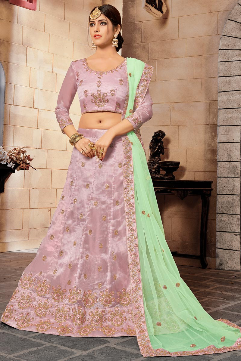 Embroidery Work On Fancy Fabric Designer Lehenga In Pink With Blouse