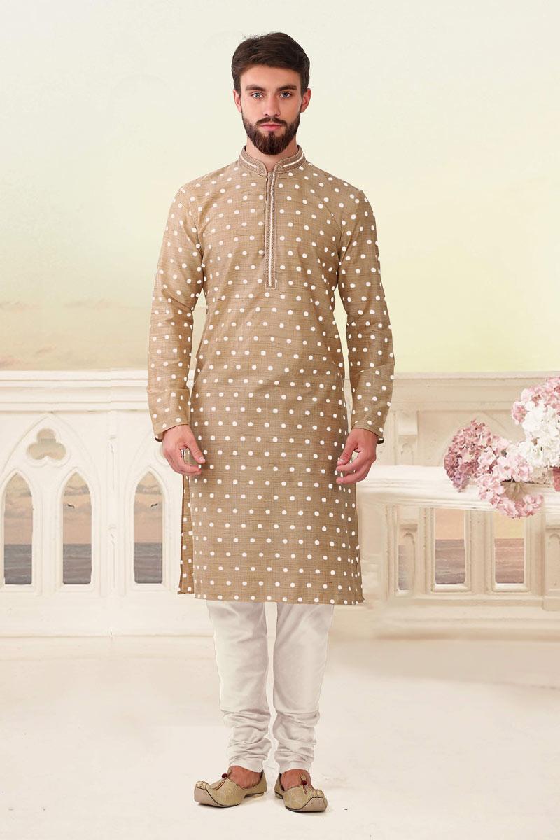 Mens Function Wear Viscose Fabric Kurta Pyjama In Beige Color